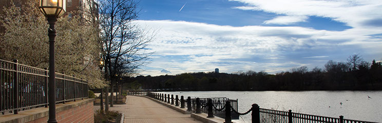 View of boardwalk and Charles River in Waltham, Massachusetts